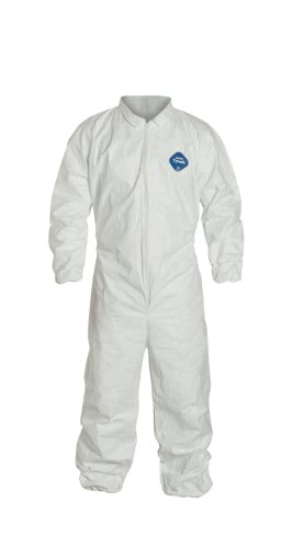 DuPont Tyvek 400 TY125S Disposable Protective Coverall with Elastic Cuffs, White, X-Large (Pack of 6)