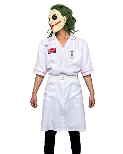 WeizhaonanCos Adult Men Clown Nurse Coat Uniform Cosplay Costume Halloween Dress Suit with Mask (3X-Large, Uniform+mask) ()