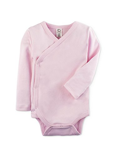 Colored Organics Baby Organic Kimono Bodysuit Long Sleeve Newborn 0-3 Months Pink Light Pink Onesies