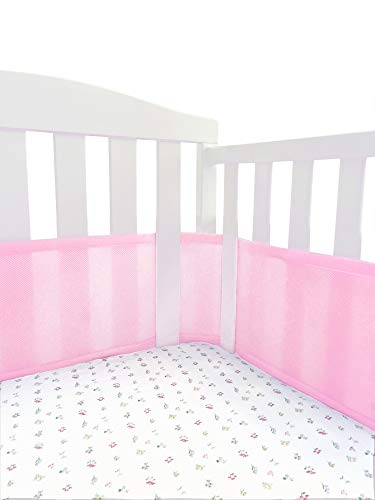 Mini Crib Breathable Bumper Pink Mesh MiniCrib Bumper Pink for Portable Crib and Cradles Breathable Mesh Liner !!This Bumper ONLY FITS MINICRIBS !!!