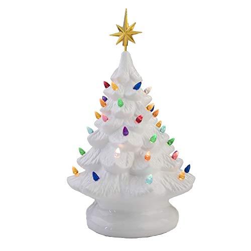"14"" Retro Prelit Ceramic Tabletop Christmas Tree With 52 Multicolored Lights (White)"