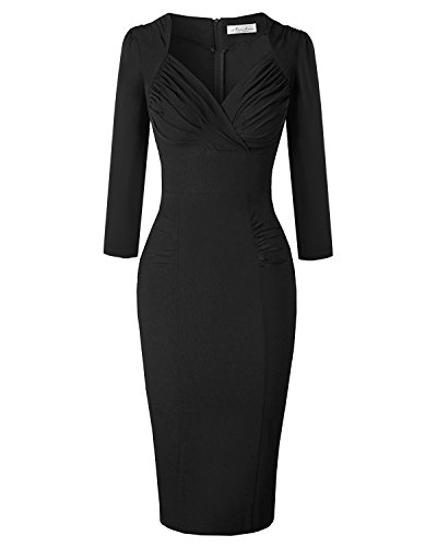 Newdow Lady's 50s Vintage V-Neck Capsleeve Pencil Dress