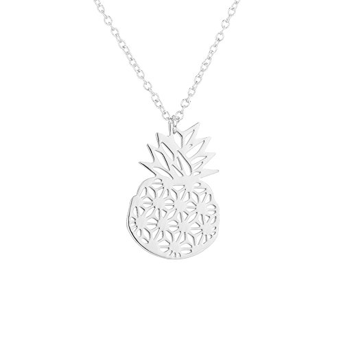 AOCHEE Origami Pineapple Necklace Cute Summer Style Tropical Fruit Necklace for Women Girls (Silver) by AOCHEE