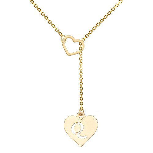 SENFAI Long Necklace Heart Shaped Y Necklace with 26 Initial Alphabet Letters for Women, 18 + 2 inches (Q, Gold Plated) ()