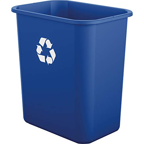 AmazonBasics 7 Gallon Commercial Waste Basket, Recycling, Blue, 12 pack