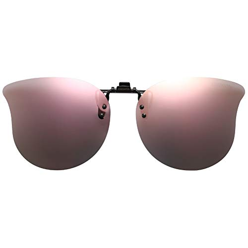 CAXMAN Polarized Cat Eye Clip On Sunglasses Over Prescription Glasses for Women UV Protection Flip Up Pink Mirrored Lens ()
