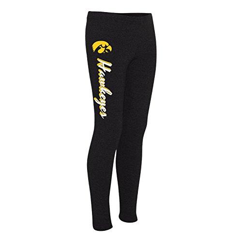 LG28 - Iowa Hawkeyes Mascot Script Leggings - X-Small - Black - Iowa Hawkeyes Lounge Pant