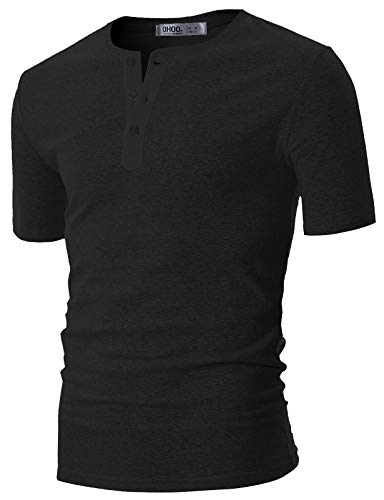 OHOO Mens Slim Fit Casual Short Sleeve Placket Melange Color Fabric Cotton Henley T-Shirts