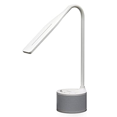 Tenergy Dimmable LED Desk Lamp Built-in Bluetooth Speaker Eye Protect Flexible Gooseneck Table Light 3 Brightness Modes USB Charging Port for Smart Devices
