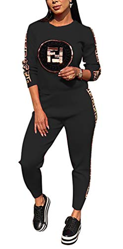 - DingAng Womens Sequins Letter Printed Two Piece Tracksuit Outfits Bodycon Jumpsuits Sweatsuit Set