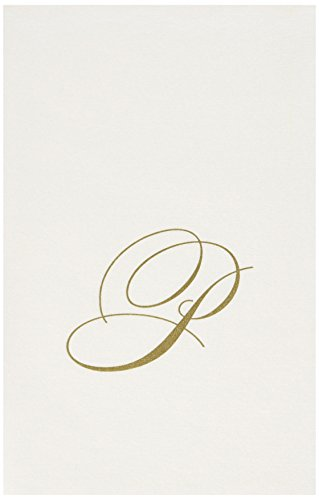 Entertaining with Caspari White Pearl Paper Linen Guest Towels, Monogram Initial P, Pack of 24