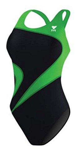 TYR Youth Alliance T-Splice Maxback Swimsuit, 24, Black/Green