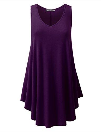 Plum Sleeveless Dress - URBANCLEO Womens V-Neck Sleeveless Tunic Top T-Shirt Dress Plum Small