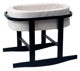 Ninna Nanna Bassinet in Stone with Espresso Base by Monte Design