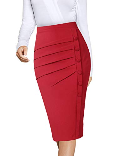 (VFSHOW Womens Pleated Ruched Buttons High Waist Wear to Work Business Office Pencil Skirt 2668 RED XS)