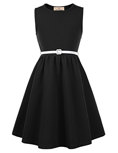 GRACE KARIN Vintage Plain Dresses For Girls With Belt 10yrs CL0482-1 -