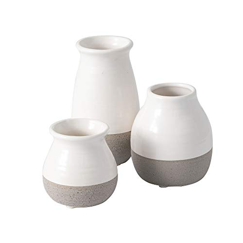 Sullivans Small White and Gray Vase Set (Ceramic), Rustic Home Decor, Great for Centerpieces, Kitchen, Office or Living Room - White Glaze with Exposed Gray Bottom (DOT204)