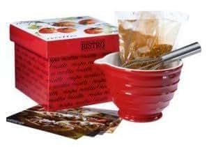 Gourmet Du Village Whisk, Bowl & Seasonings Gift Set, Cranberry Red