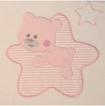 10XDIEZ Juego de sábanas Cuna Star Blanco/Rosa - Medidas sabanas bebé - Minicuna (50x80cm)