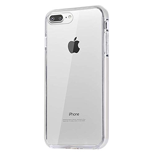 (JAHOLAN Clear Case for iPhone 7 Plus Flexible TPU Hybrid Shockproof Anti-Scratch Slim Thin Bumper Phone Case for iPhone 7 Plus/iPhone 8 Plus - White)