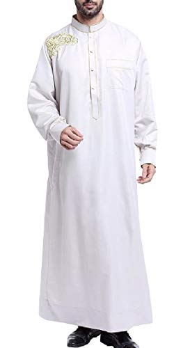 Etecredpow Men Dubai Embroidery Long Sleeve Muslim for sale  Delivered anywhere in USA