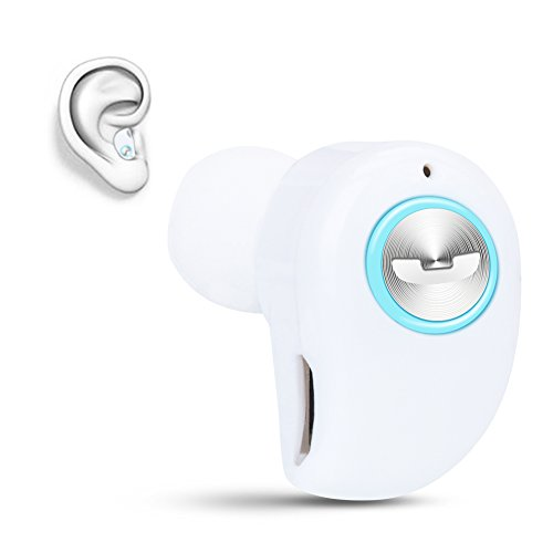 Mini Invisible Bluetooth Earbud,V4.1 Stereo Wireless Bluetooth Earphone with Built-in Mic,Sports Noise Cancelling in-Ear Headphone for iPhone Samsung and Other Android Phones (White)