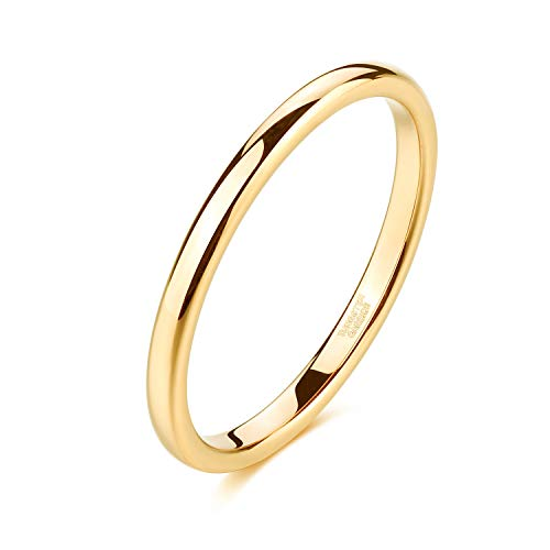 Shuremaster 2mm Gold Tungsten Rings for Women Plain Thin High Polish Engagement Wedding Band Size 4