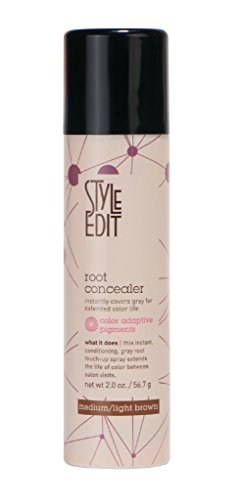 Style Edit Root Concealer Factory Fresh, Brown, Medium/Light, 2 oz. (Black Light Hairspray)