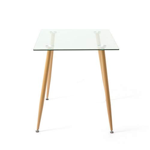 Mecor Dining Table Glass Top and Wooden Look Leg Modern Kitchen Table Rectangular by Mecor (Image #6)