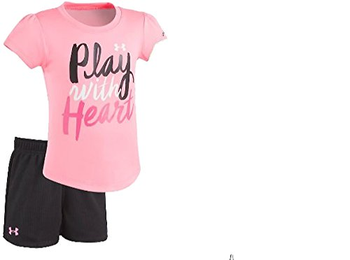 Under Armour Baby Girls' Lumos Tee and Shorts 2 Piece Set (18 Months, Pink Punk (27C02021-67)/Black)