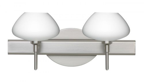 Besa Lighting 2SW-541007-SN 2X40W G9 Peri Wall Sconce with Opal Matte Glass, Satin Nickel Finish (Sconce Peri Satin)