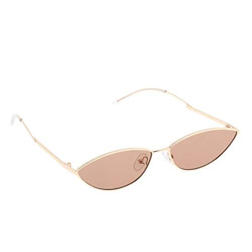 (Fityle Small Frame Skinny Cat Eye Sunglasses Mini Narrow Vintage Trendy Stylish Design Eyewear, for Women Men - Golden-Brown)