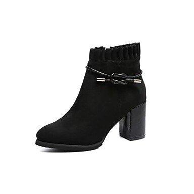 RTRY Zapatos De Mujer Cuero De Nubuck Pu Moda Otoño Invierno Confort Botas Botas Cuadra Talón Round Toe Para Negro Marrón Ocasional US6 / EU36 / UK4 / CN36