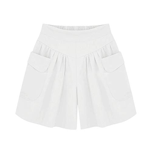 (TIFENNY Plus Size Shorts for Women Solid Color Loose Hot Pants with Pockets Lady Summer Casual Shorts Pants White)