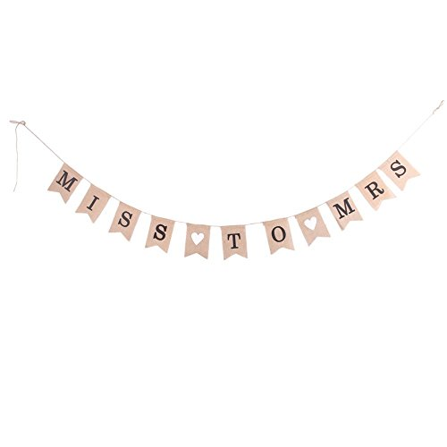 Miss to Mrs Burlap Banner Bunting for Wedding Party Bridal Decoration