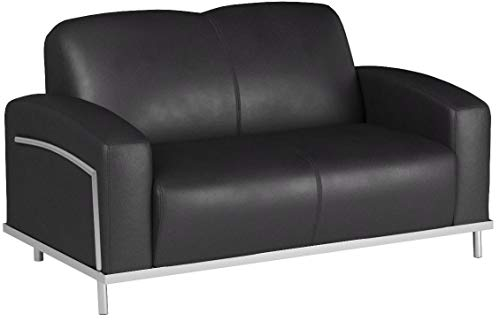 (Boss Office Products BR99002-BK CaressoftPlus Loveseat with Chrome Finish in Black )