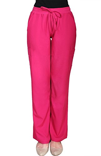 minty-mint-womens-full-elastic-waist-stretchy-medical-scrub-cargo-pants-hot-pink-m