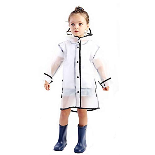 YOUNGER TREE Kids Raincoat Durable Translucent Rain Cape Portable Hooded Poncho for 1-10T Little Baby Boys Girls (White Translucent Long Raincoat, XL for 7-8 Year Old (7-8 t)) by YOUNGER TREE