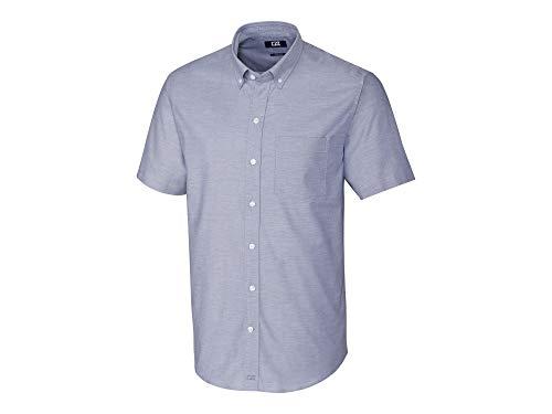 Cotton Cutter & Dress Buck Shirt (Cutter & Buck Men's Wrinkle Resistant Stretch Short Sleeve Button Down Shirt, Light Blue Oxford, 4X Tall)