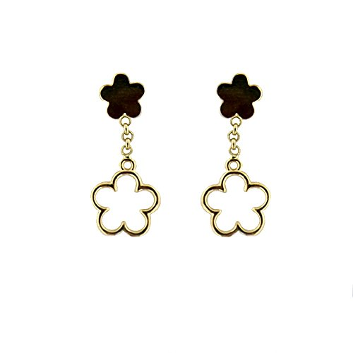 18K Yellow Gold top Polished Flower and Dangle Open Flower Post Earrings 0.75 inch L by Amalia