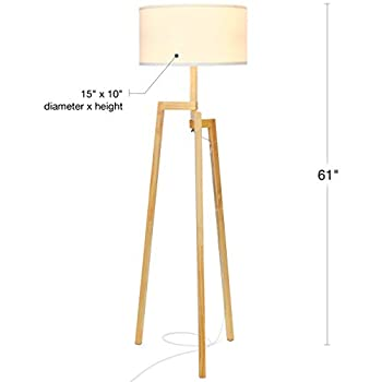 Brightech New Mia LED Tripod Floor Lamp– Modern Design Wood Mid Century Modern Light for Contemporary Living Rooms- Rustic, Tall Standing Lamp for Bedroom, Office- White Shade