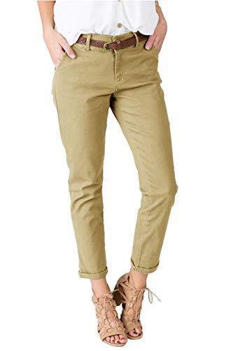 chimikeey Womens Straight Leg Cropped Ankle Slimming Work Pants Trousers (Small, 2-Khaki)