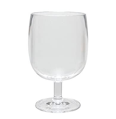 QG 12 oz Clear Acrylic Plastic Stackable Goblet Footed Tumbler Set of 8