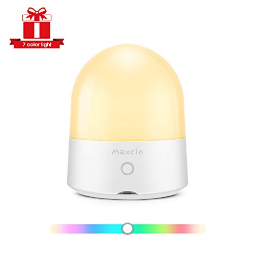 [On Sale]Night Lights for Kids, Maxcio LED Bedside Lamp for Nursery, Baby Night Light with Touch Control, Portable and USB Rechargeable Night Light Bulbs, 7 Color Adjustable Brightness Light