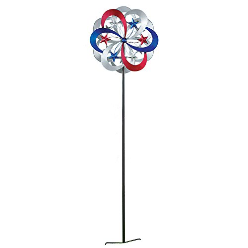 - Collections Etc Patriotic Double Kinetic Wind Spinner Garden Stake Decoration, 54