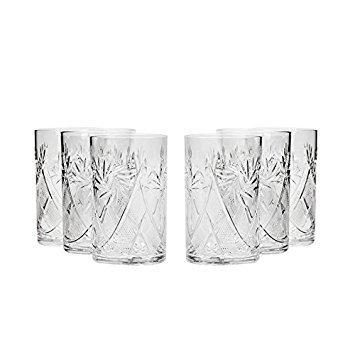 Set of 6 Neman Glassworks, 8-Oz Hand Made Vintage Russian Crystal Tea Beverage Glasses for ''Podstakannik'', Old-fashioned Glassware