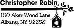(Bird Address Stamp - Birdhouse Branch Stamp - Custom Bird Stamp)