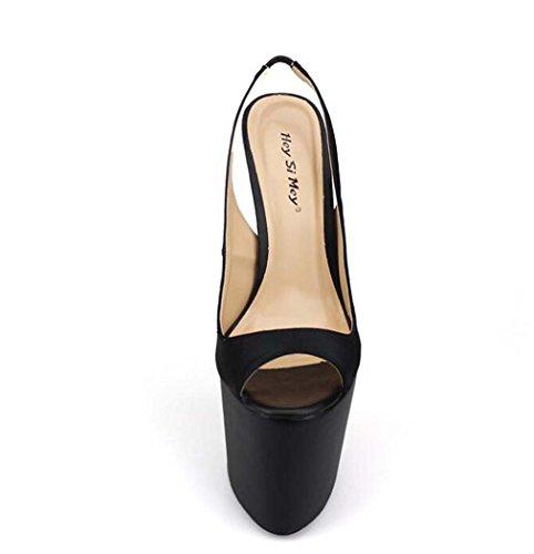 40 Tamaño Sola Sandalias 50 Peep Bomba para 45 Tacón Alto Zapatos Tamaño Color Toe Mujer Plataforma Negro Zapatos de TSOqTHw4