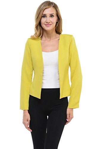 Auliné Collection Women's Candy Color Tailored Fit Open Suit Jacket Blazer Mustard (Collection Suit Jacket)
