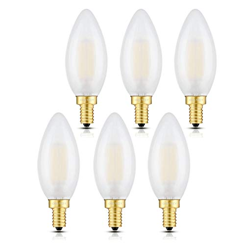 OMAYKEY 6W 3000K LED Candelabra Bulbs Soft White, Dimmable 60W Equivalent 600 Lumens, E12 Candle Base C35 Frosted Glass LED Chandelier Bulb, 360 Degrees Beam Angle, Pack of 6 - Bulb Frosted Led